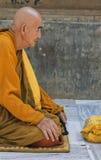 Meditating Buddhist Monk at Mahabodhi Temple, India Stock Photo