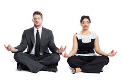 Meditating business people Royalty Free Stock Images