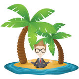 Meditating businessman sitting on the beach of a t Stock Images