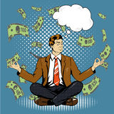 Meditating businessman with speech bubble in retro pop art comic style. Money flying around