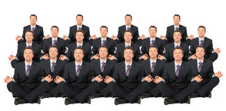 Meditating businessmen crowd collage Royalty Free Stock Image