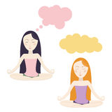 Meditating cartoon girls. Clouds for dreams. Vector eps10 Stock Image