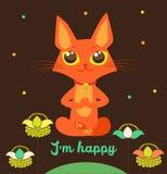 Meditating Cat Vector. Yoga Cat Vector. Cute Red Cat. Royalty Free Stock Photo