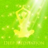 Meditating in crossed-legged yoga lotus pose woman. Yoga lotus pose woman meditating deep in crossed-legged Royalty Free Stock Image