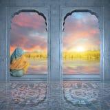 Meditating on the Ganges. Stock Photo