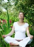 Meditating in a garden Stock Photos
