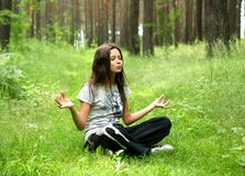 The meditating girl Royalty Free Stock Photos