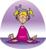 Meditating girl. Cartoon illustration of girl listening to the music and meditating Stock Photo