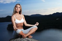 Meditating girl Stock Image