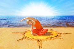 Meditating girl Stock Images