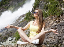 Meditating Girl Royalty Free Stock Images