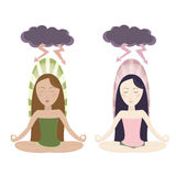 Meditating girls in cartoon style Stock Images