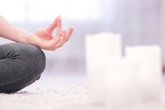 Meditating hand of woman Stock Photography