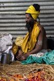 A meditating hermit at Kumbh Mela 2013 Royalty Free Stock Photos