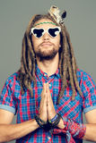 Meditating hippie Stock Photo