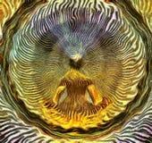 Meditating Man. And Energy Waves Royalty Free Stock Photo