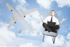 Meditating man falling out or airplane Stock Photos