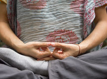 Meditating man fingers Stock Images