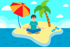 Meditating man on the island Stock Photography