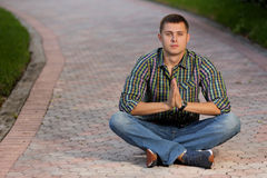 Meditating man. Stock image of a man meditating Royalty Free Stock Photo