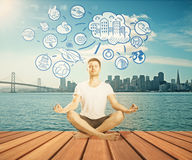 Meditating man thinking about life Stock Images