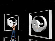 Meditating man, Yin Yang. 3D illustration, wallpaper, background representing the Yin Yang symbol.  Originates to the Dao dynasty, symbolizing opposites that are Royalty Free Stock Photography