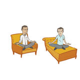 Meditating Men with no background or shadows Royalty Free Stock Images