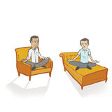 Meditating Men on White/Transparent Royalty Free Stock Image