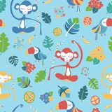 Meditating monkeys and toucans blue vector pattern vector illustration