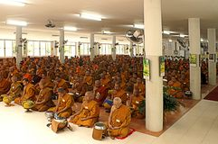 Meditating monks Royalty Free Stock Photography