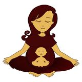 Meditating mother. Meditating pregnant woman with small meditating child in a stomach Stock Image