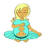 Meditating mother Royalty Free Stock Images