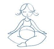 Meditating mother - vector illustration Stock Image