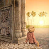 Meditating in the paradise. Royalty Free Stock Image