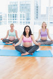 Meditating pregnant women in yoga class sitting in lotus position Stock Photo