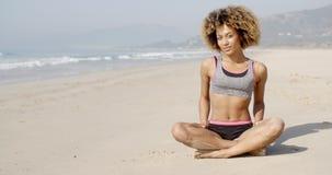 Meditating On The Sea Coast stock video footage
