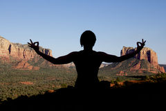 Meditating at Sedona Stock Photo
