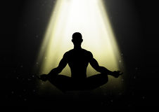 Meditating. Silhouette illustration of a man figure meditating under the light Royalty Free Stock Images