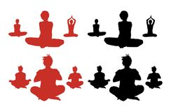 Meditating Silhouettes Stock Photography