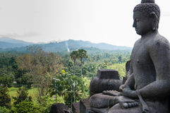 Meditating sitting Buddha in stone above jungle at Royalty Free Stock Image