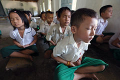 Meditating students in Hpa An, Myanmar Stock Photography