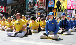 Meditating in Times Square Royalty Free Stock Photo