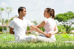 Meditating together royalty free stock image