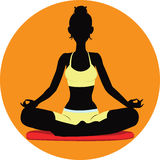 Meditating. Vector illustration of Silhouette meditating women Royalty Free Stock Photos