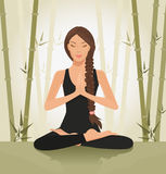 Meditating woman. Illustration of a beautiful young woman meditating in yoga lotus position Royalty Free Stock Photos