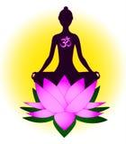 Meditating woman vector illustration