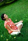 Meditating woman royalty free stock photo