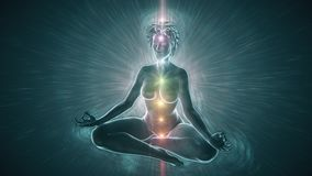 Meditating woman activating chakras surrounded by light