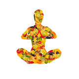 Meditating woman from fruit and vegetables. Collage of a meditating woman from fruit and vegetables, white background Stock Photography