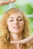 Meditating woman at home Stock Image